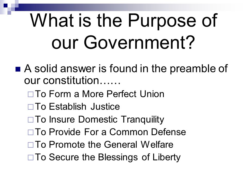 What is the Purpose of our Government