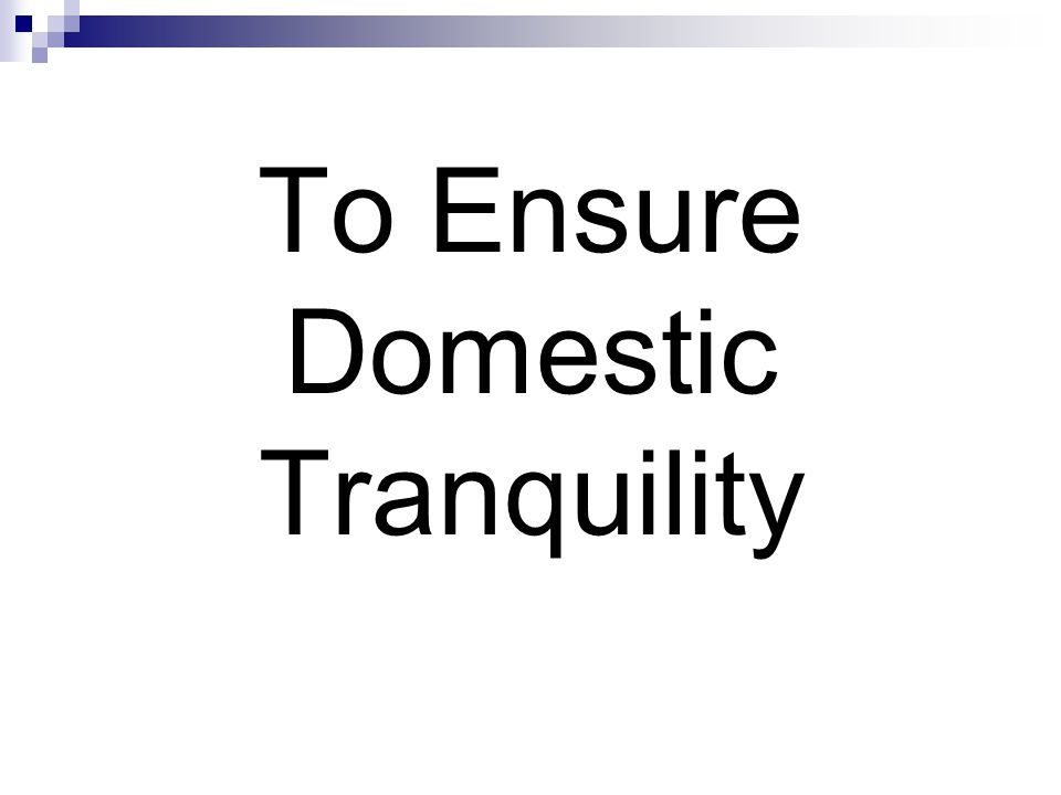 To Ensure Domestic Tranquility