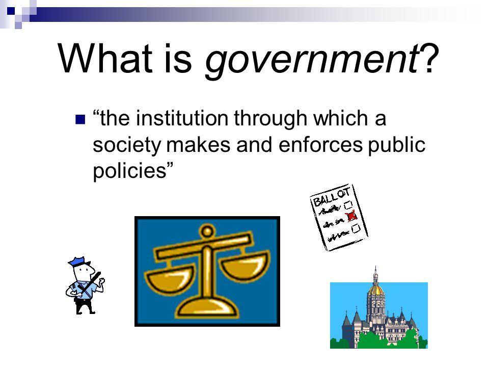 What is government the institution through which a society makes and enforces public policies
