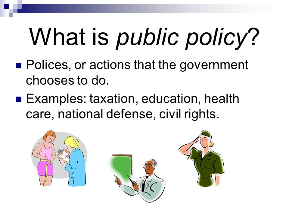 What is public policy Polices, or actions that the government chooses to do.
