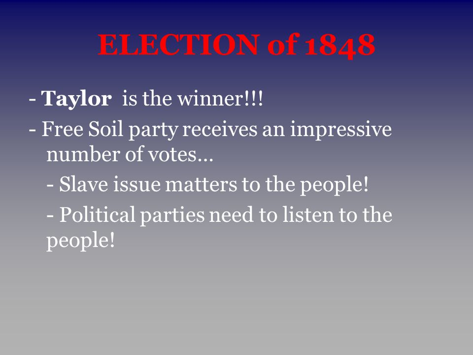 ELECTION of 1848 - Taylor is the winner!!!