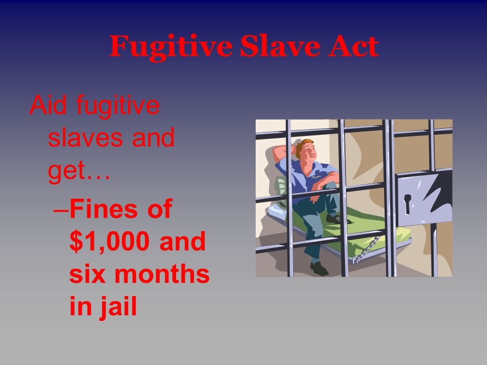 Fugitive Slave Act Aid fugitive slaves and get…