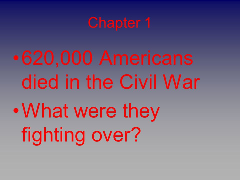 620,000 Americans died in the Civil War What were they fighting over