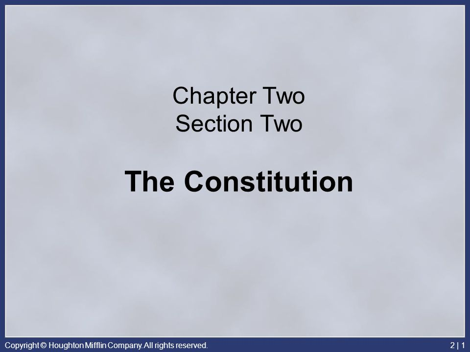 Chapter Two Section Two