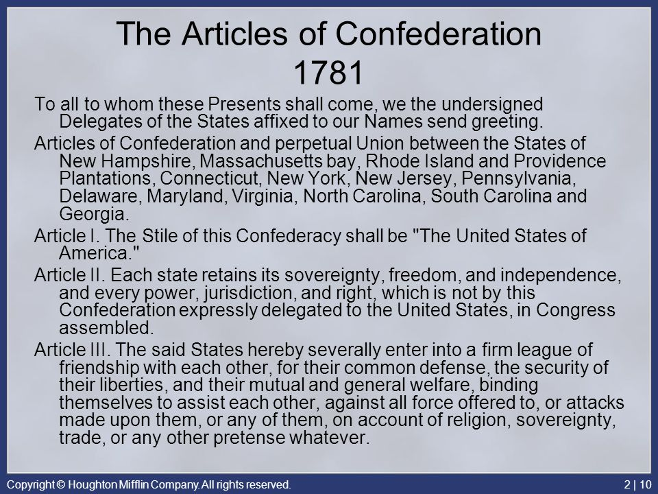 The Articles of Confederation 1781