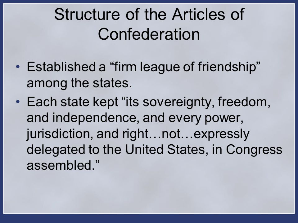 Structure of the Articles of Confederation
