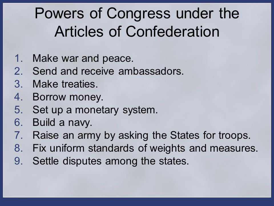 Powers of Congress under the Articles of Confederation