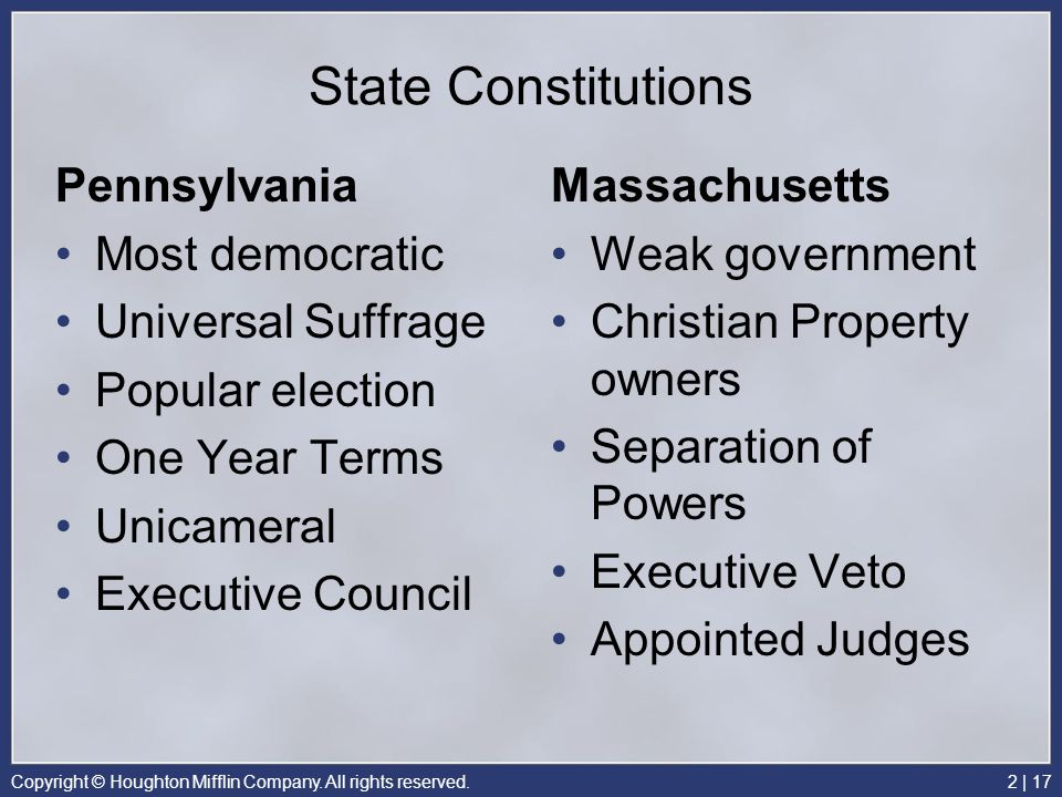 State Constitutions Pennsylvania Most democratic Universal Suffrage