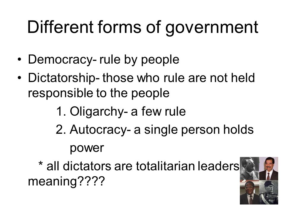Different forms of government