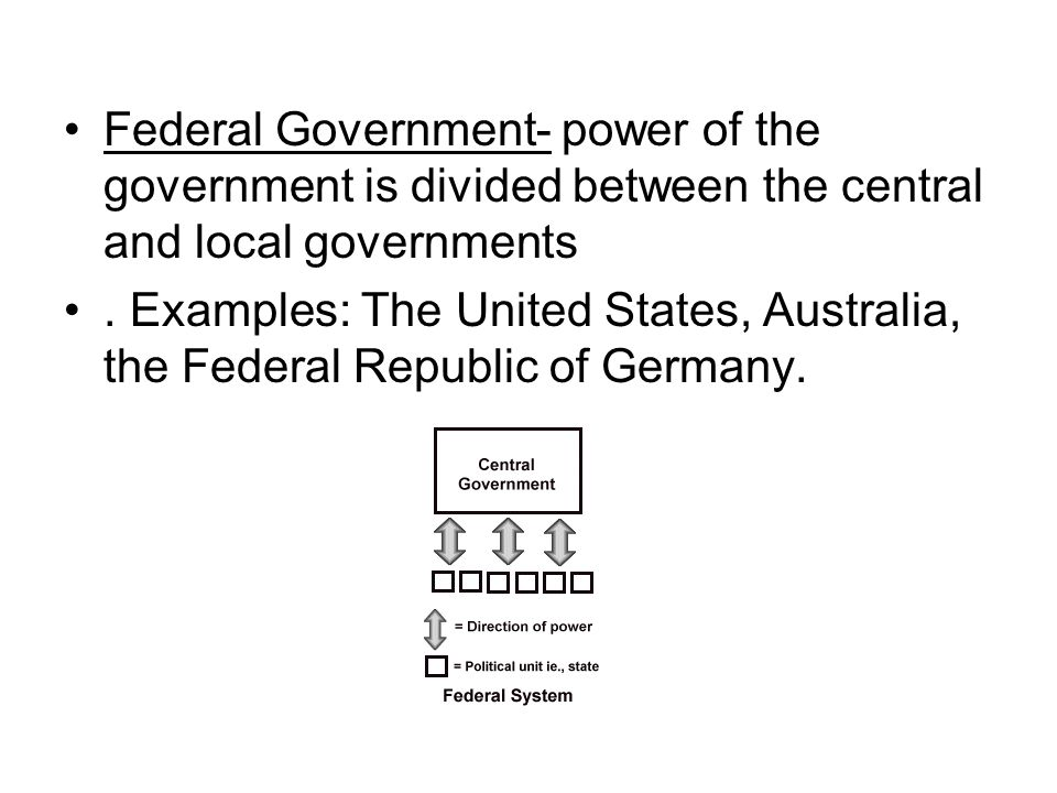 Federal Government- power of the government is divided between the central and local governments