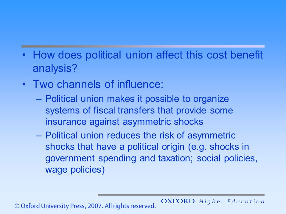 How does political union affect this cost benefit analysis