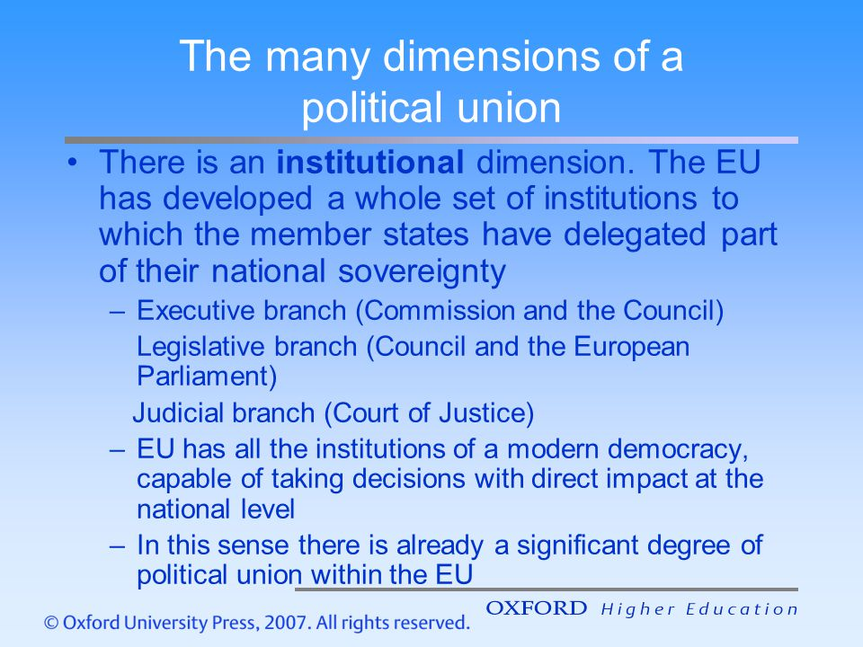 The many dimensions of a political union