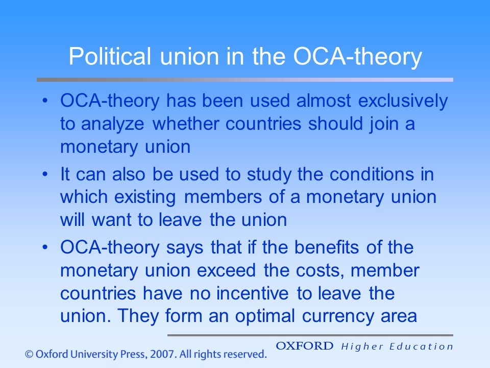 Political union in the OCA-theory