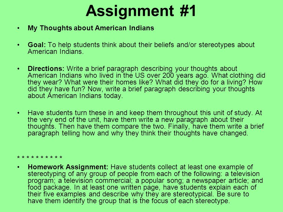 Assignment #1 My Thoughts about American Indians