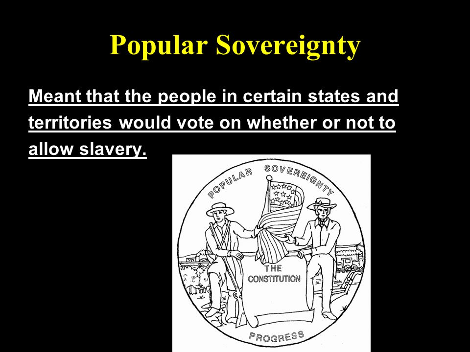 Popular Sovereignty Meant that the people in certain states and