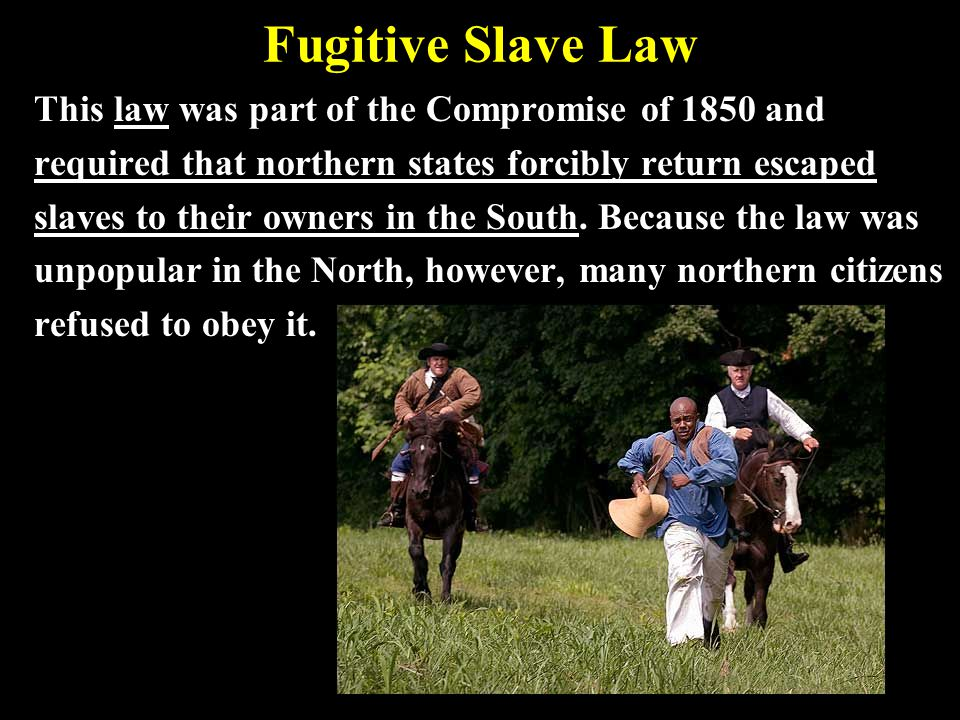 Fugitive Slave Law This law was part of the Compromise of 1850 and