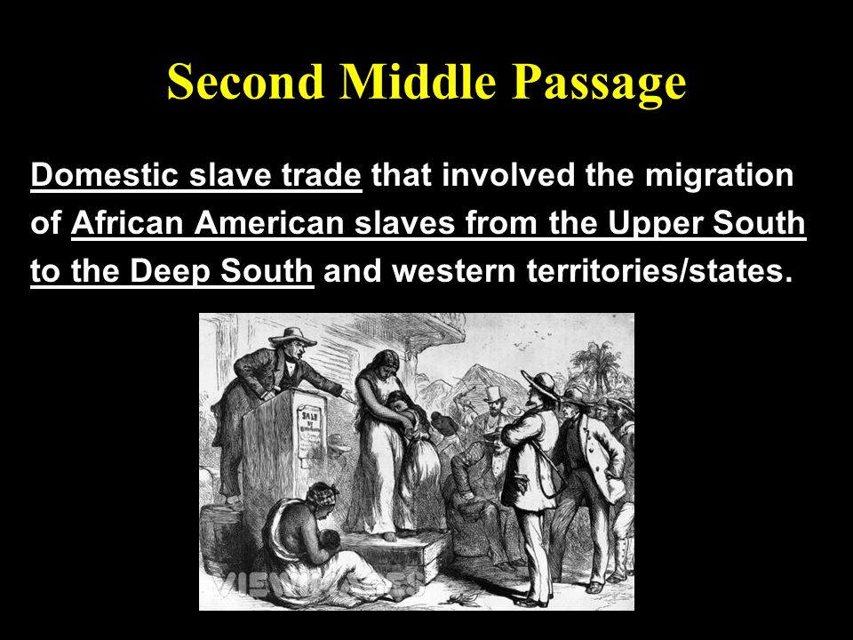 Second Middle Passage Domestic slave trade that involved the migration