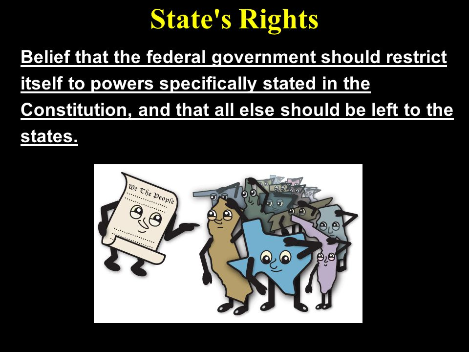 State s Rights Belief that the federal government should restrict