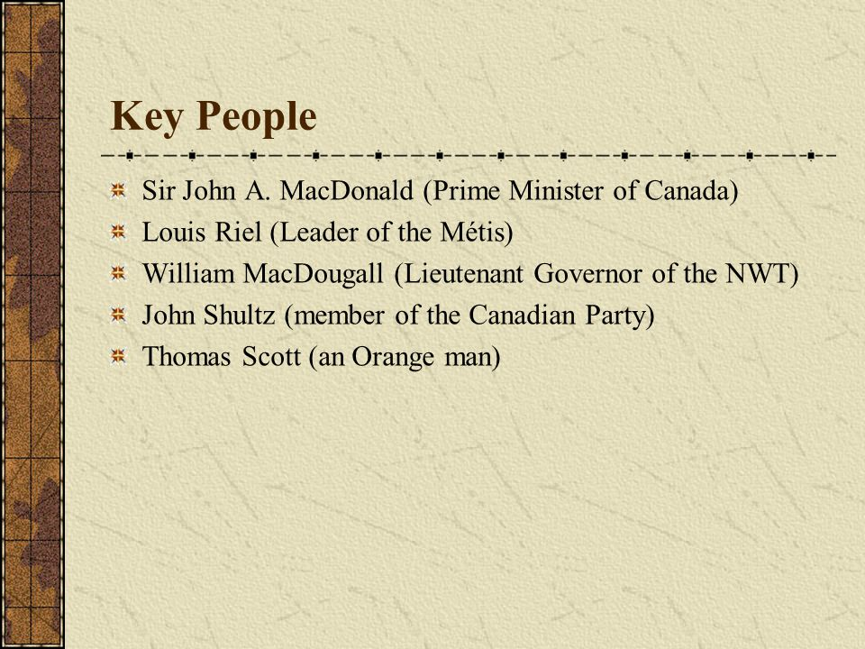Key People Sir John A. MacDonald (Prime Minister of Canada)