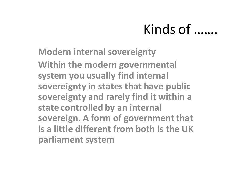 Kinds of ……. Modern internal sovereignty