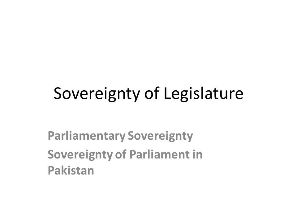 Sovereignty of Legislature
