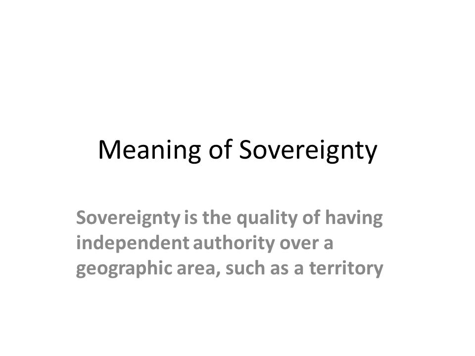 Meaning of Sovereignty