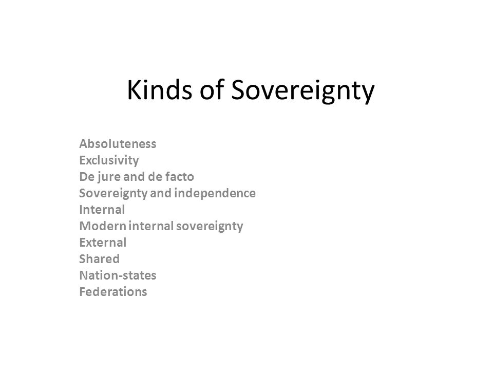Kinds of Sovereignty Absoluteness Exclusivity De jure and de facto