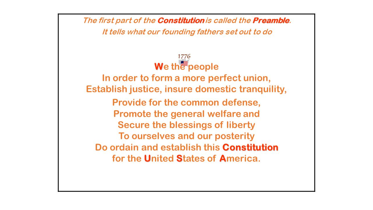 The first part of the Constitution is called the Preamble.