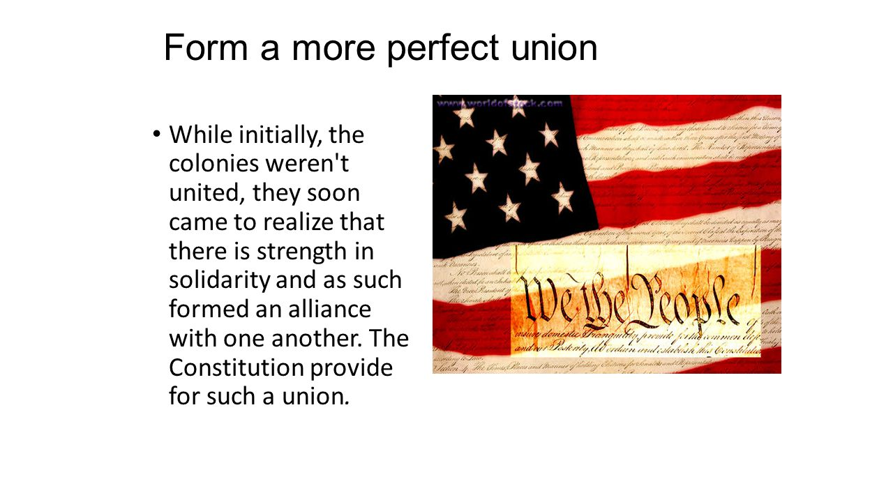 Form a more perfect union