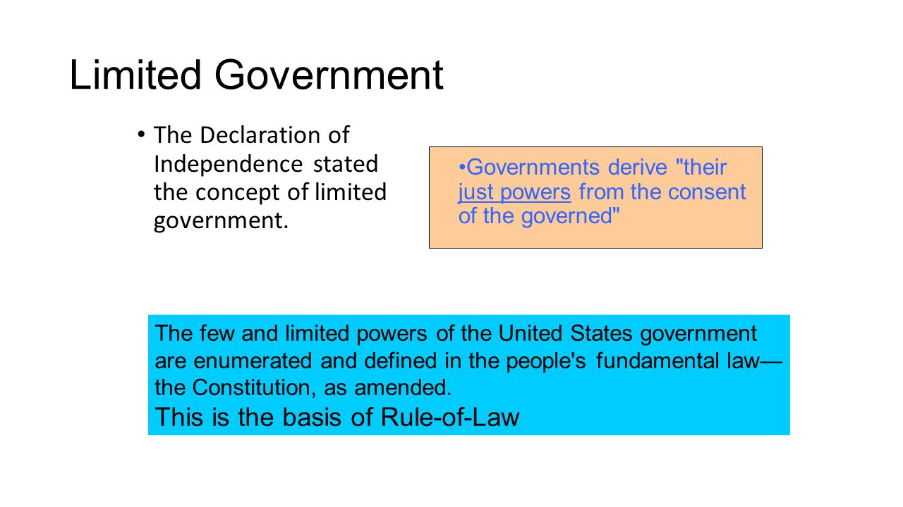 Limited Government The Declaration of Independence stated the concept of limited government.