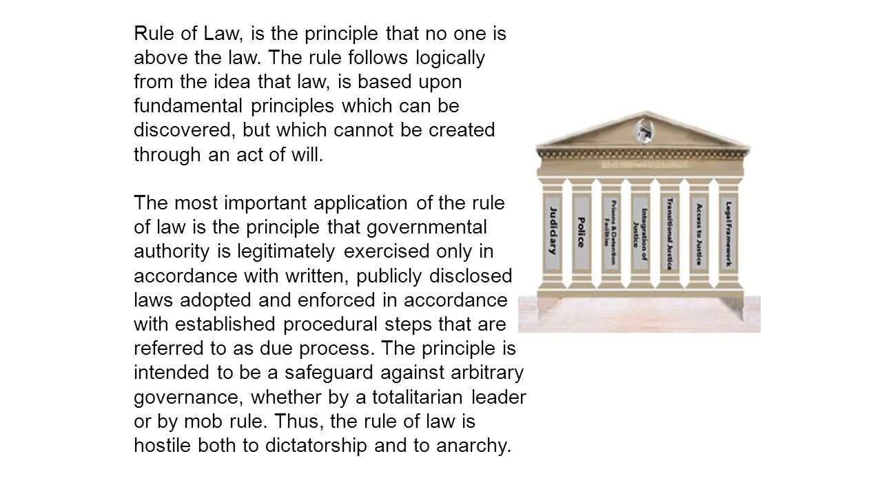 Rule of Law, is the principle that no one is above the law