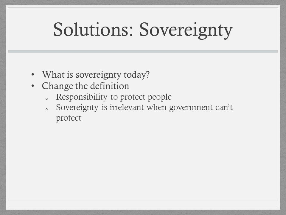 Solutions: Sovereignty