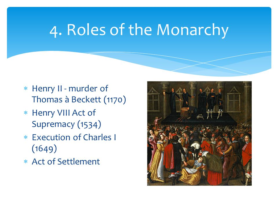 4. Roles of the Monarchy Henry II - murder of Thomas à Beckett (1170)