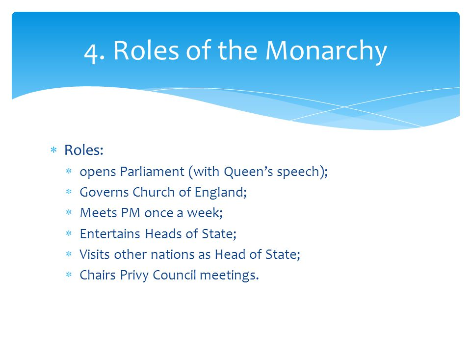 4. Roles of the Monarchy Roles: