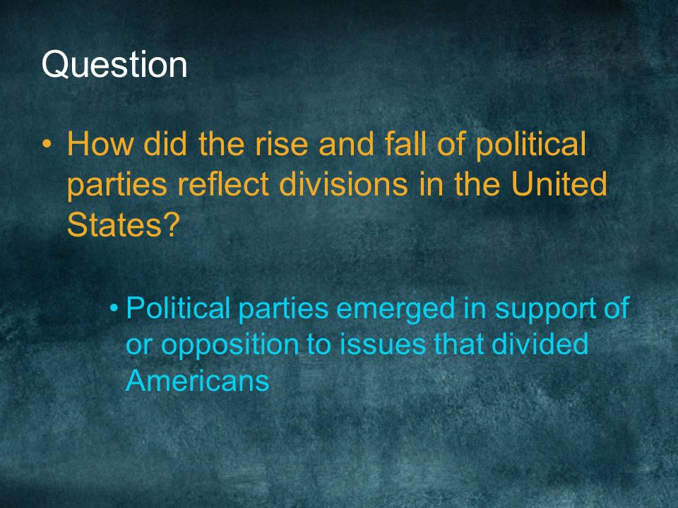 Question How did the rise and fall of political parties reflect divisions in the United States