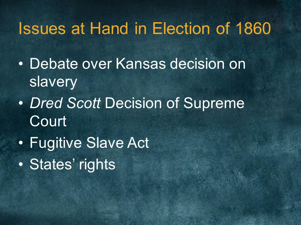 Issues at Hand in Election of 1860