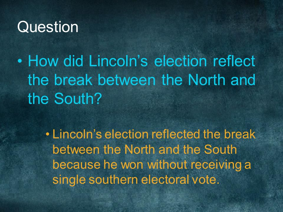 Question How did Lincoln's election reflect the break between the North and the South