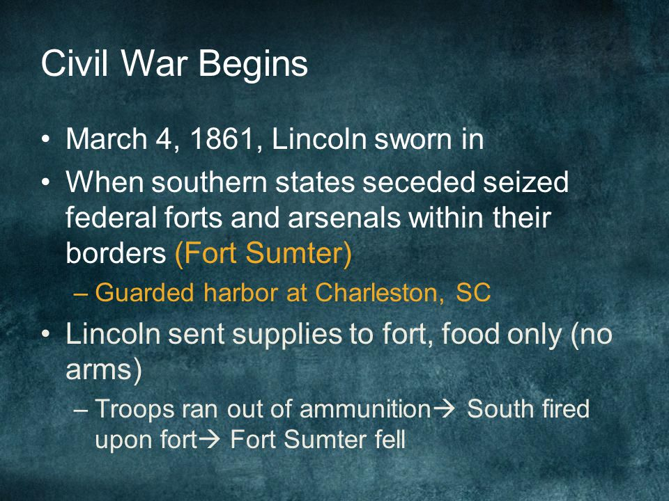 Civil War Begins March 4, 1861, Lincoln sworn in