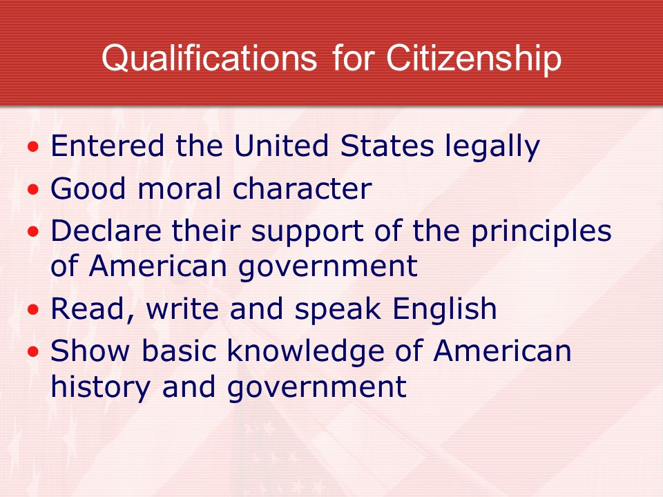 Qualifications for Citizenship