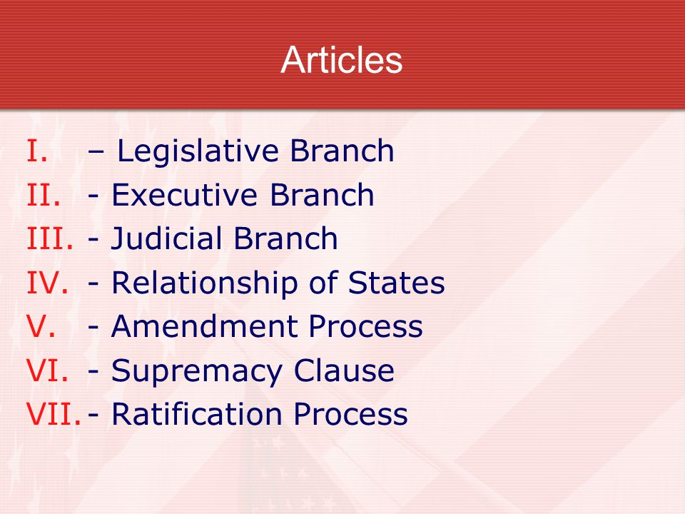 Articles – Legislative Branch - Executive Branch - Judicial Branch