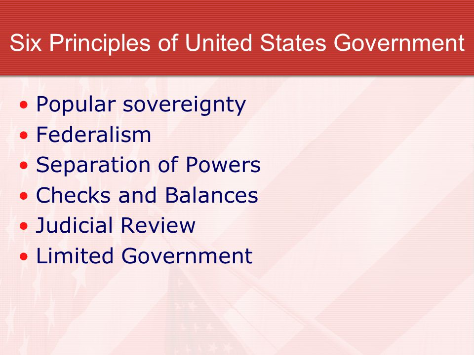 Six Principles of United States Government