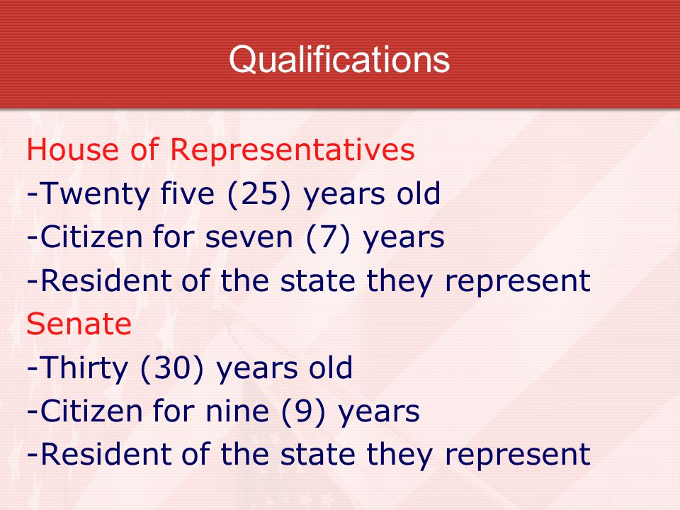 Qualifications House of Representatives -Twenty five (25) years old