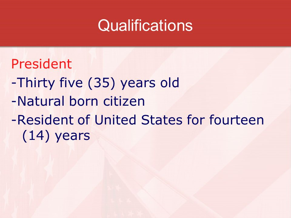 Qualifications President -Thirty five (35) years old