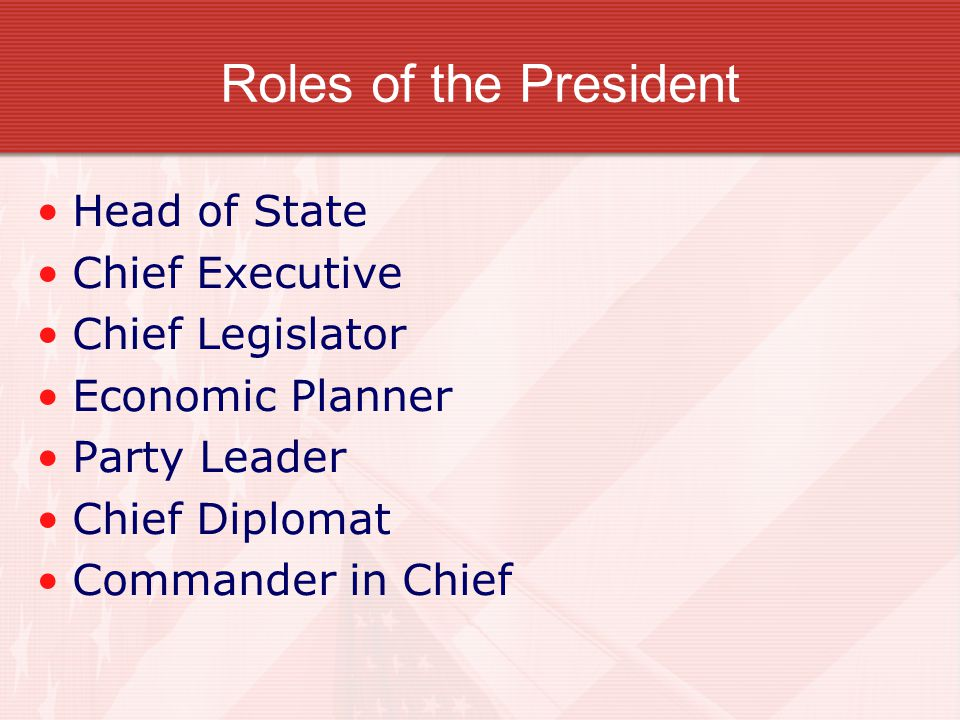 Roles of the President Head of State Chief Executive Chief Legislator