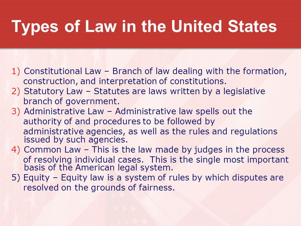 Types of Law in the United States