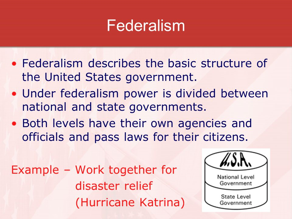 Federalism federal government of the united