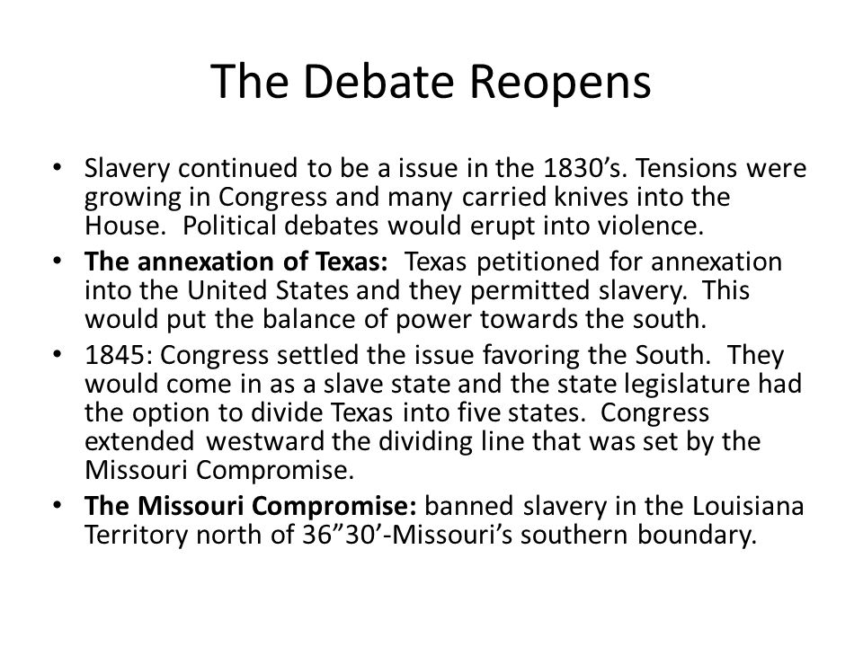 The Debate Reopens