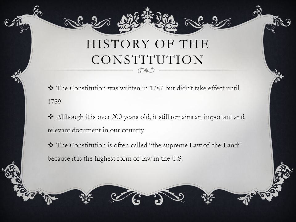 History of the constitution