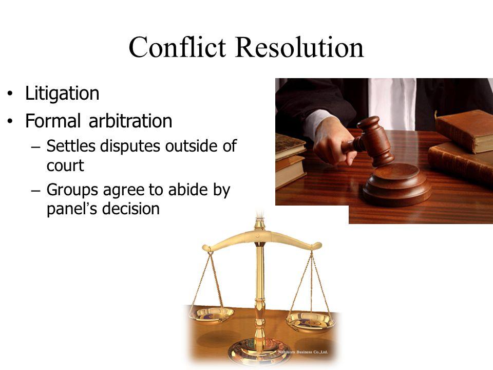 Conflict Resolution Litigation Formal arbitration