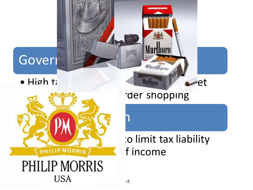 Taxes Government taxation policies. High taxation can lead to black market growth and cross-border shopping.